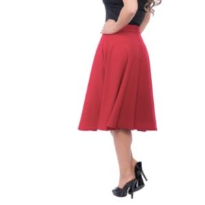 Red High-Waisted Circle Skirt NWT
